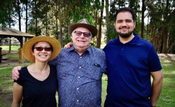 2019 family picnic, Jon, Mel and Geoff